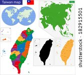 vector map of taiwan drawn with ... | Shutterstock .eps vector #182915501