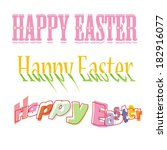 happy easter hand lettering  ... | Shutterstock .eps vector #182916077