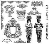 vector set  black and white... | Shutterstock .eps vector #182917115