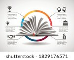 opened book as knowledge...   Shutterstock .eps vector #1829176571