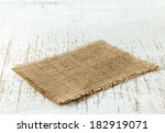 burlap napkin on old wooden... | Shutterstock . vector #182919071