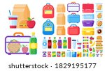 lunch box constructor. food for ... | Shutterstock . vector #1829195177