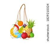 string bag full of fruit and... | Shutterstock .eps vector #1829210324