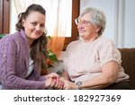 elderly woman with her home... | Shutterstock . vector #182927369