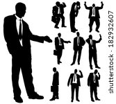 vector silhouette of business... | Shutterstock .eps vector #182932607
