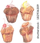 set with four muffins ... | Shutterstock . vector #182936309
