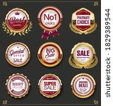 super sale golden retro badges... | Shutterstock . vector #1829389544