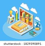 isometric online education...   Shutterstock . vector #1829390891