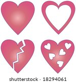 4 different hearts | Shutterstock . vector #18294061