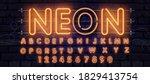 orange neon font  complete... | Shutterstock .eps vector #1829413754