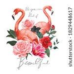 beautiful slogan with flamingos ... | Shutterstock .eps vector #1829448617