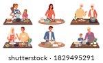 set of people cooking... | Shutterstock .eps vector #1829495291