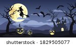 vector halloween night... | Shutterstock .eps vector #1829505077