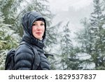 Young Woman With Down Jacket...