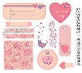 valentine's day set of design... | Shutterstock . vector #182954375