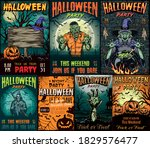 halloween vintage colorful... | Shutterstock .eps vector #1829576477