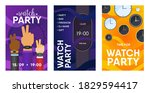 watch party invitation cards... | Shutterstock .eps vector #1829594417