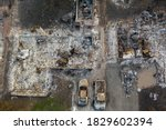 Aerial View Of A Burned Down...