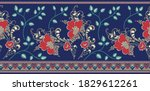 seamless textile flower border... | Shutterstock .eps vector #1829612261