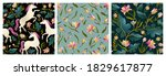 set of unicorns and floral on a ...   Shutterstock .eps vector #1829617877