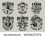 happy halloween vintage... | Shutterstock .eps vector #1829637374