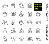 coffee shop thin line icons   ... | Shutterstock .eps vector #1829637401