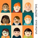 set of vector portraits | Shutterstock .eps vector #182967341