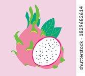 dragon fruit isolated on white... | Shutterstock .eps vector #1829682614
