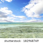 turquoise sea against the sky... | Shutterstock . vector #182968769