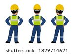 isolated industrial worker with ... | Shutterstock .eps vector #1829714621