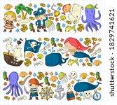 vector pirate set in cartoon... | Shutterstock .eps vector #1829741621