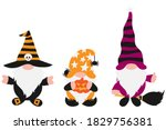 halloween gnomes set with white ... | Shutterstock .eps vector #1829756381