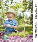 cute little boy wearing hat... | Shutterstock . vector #182986214
