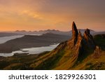 sunrise at the old man of storr on the isle of skye.