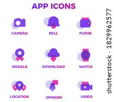 set of icons purple color ...