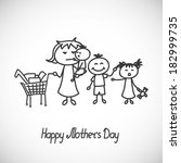 happy mothers day card  tired... | Shutterstock .eps vector #182999735