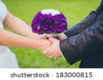 wedding couple holding hands.... | Shutterstock . vector #183000815