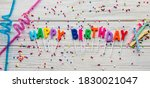 text happy birthday by candle ... | Shutterstock . vector #1830021047