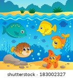 underwater ocean fauna theme 4  ... | Shutterstock .eps vector #183002327
