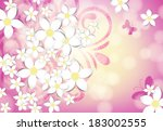 spring floral card. white paper ... | Shutterstock .eps vector #183002555
