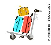 suitcases on airport luggage... | Shutterstock .eps vector #1830026381