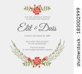 wedding invitation | Shutterstock .eps vector #183002999