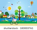 beautiful day on the lake | Shutterstock . vector #183003761