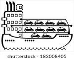 freighter isolated on white... | Shutterstock .eps vector #183008405