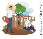 gardening man and woman with... | Shutterstock .eps vector #1830170171