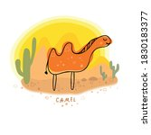a camel travels through the...   Shutterstock .eps vector #1830183377