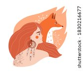 beautiful young girl with fox... | Shutterstock . vector #1830216677