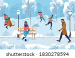 city winter landscape with... | Shutterstock .eps vector #1830278594