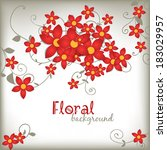 spring floral card. red paper... | Shutterstock . vector #183029957