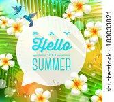 speech bubble with summer... | Shutterstock .eps vector #183033821